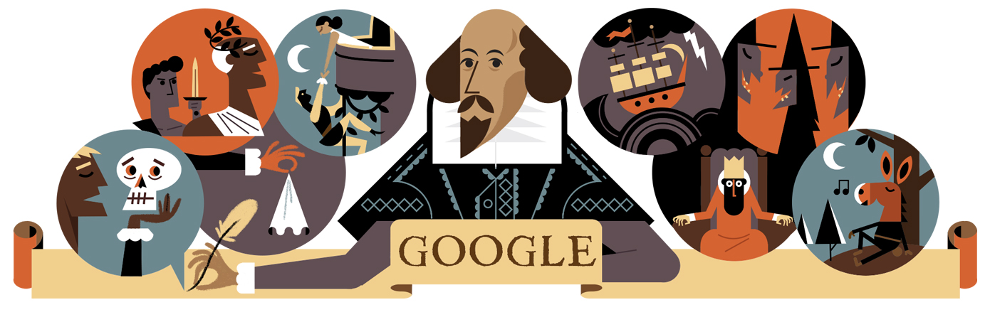 GOOGLE DOODLE celebrating william shakespeare 5125440101416960 hp2x