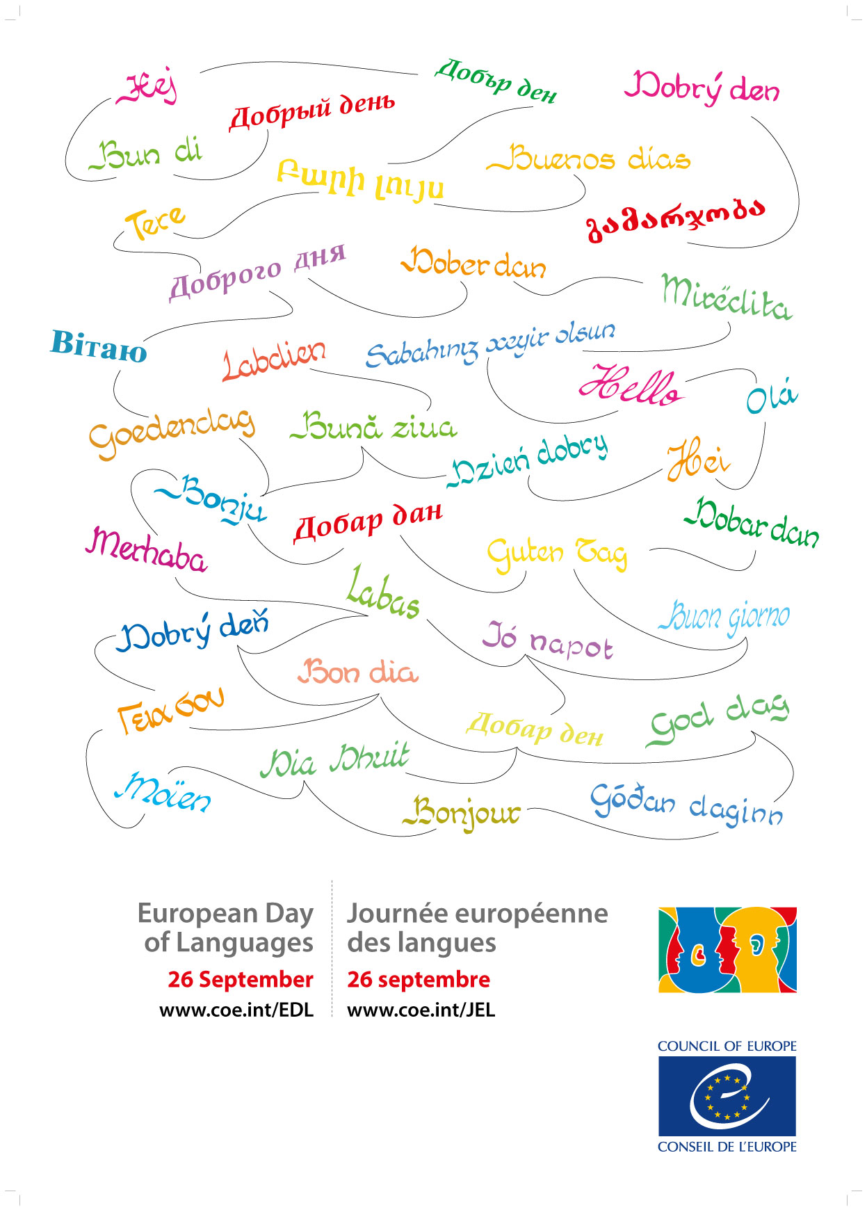 EDL white poster multilingue European day of languages