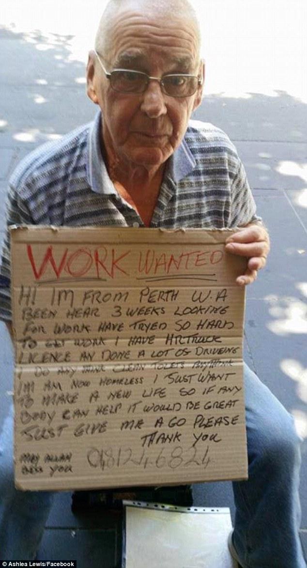 zifdo homeless man sign gets job Facebook 1