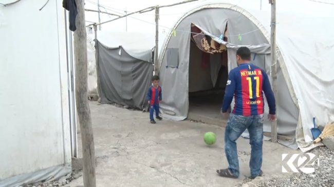 Messi or Hassan playing football at a refugee camp in Duhok 650x365
