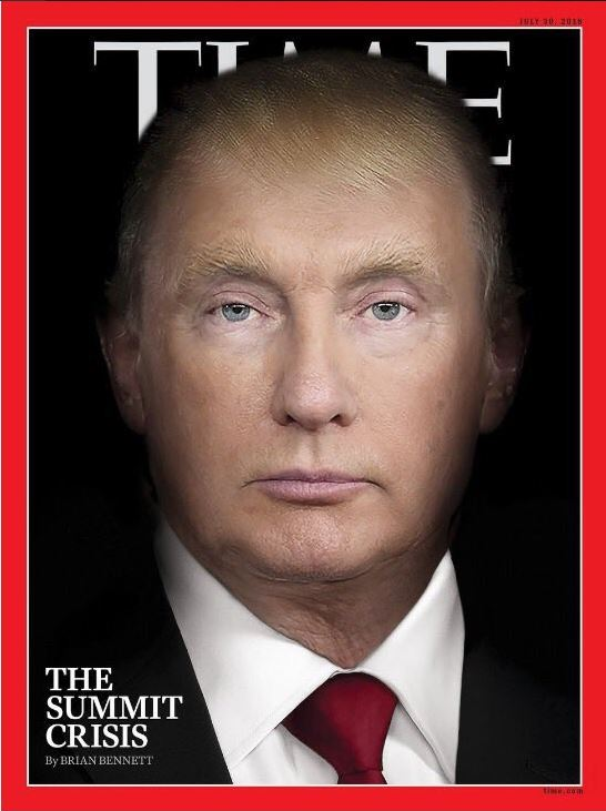 Αποτέλεσμα εικόνας για Τραμπ και Πούτιν γίνονται ένα στο εξώφυλλο του Time