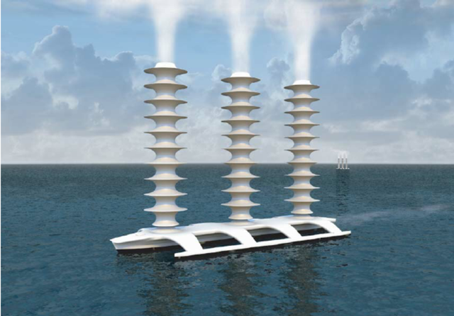 A conceptual Flettner spray vessel with Thom fences The wind would be blowing from the