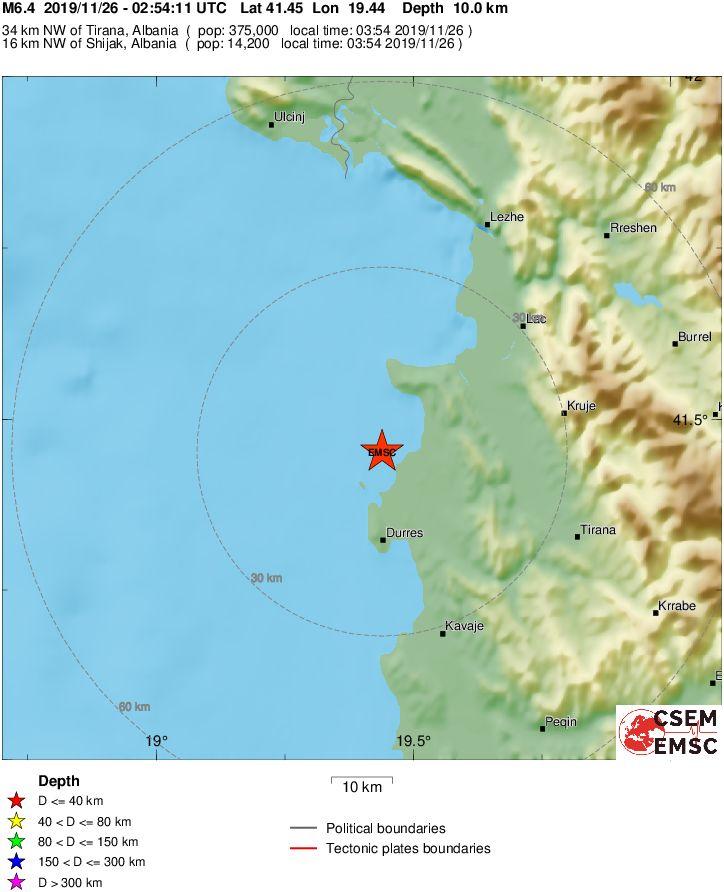Isxyros Seismos 6 4 Rixter Ta 3hmerwmata Sthn Albania Ais8htos