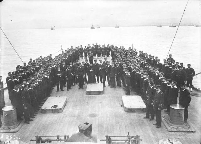 Kountouriotis and crew on the deck of Averof