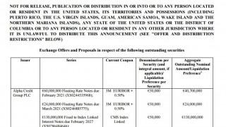 Προαιρετική δημόσια προσφορά από την Alpha Bank στους κατόχους ομολόγων