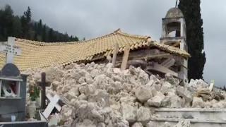 Εικόνες καταστροφής στο Αθάνι Λευκάδας