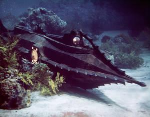 """1954. Ο Ναυτίλος του Κάπτεν Νέμο που σχεδιάστηκε από τον Ηarper Goff για την ταινία των στούντιο """"20.000 λεύγες κάτω από τη θάλασσα""""."""
