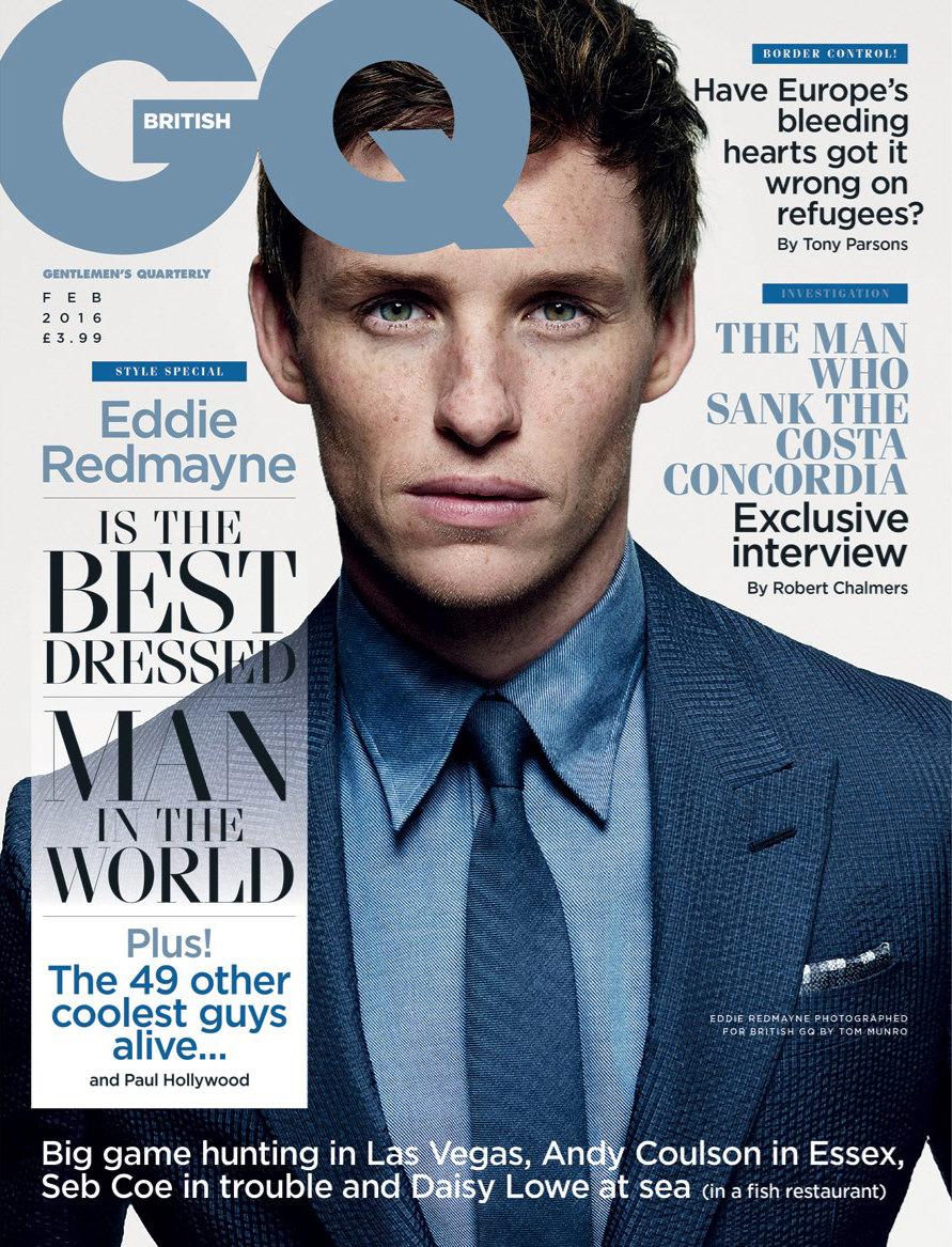 Eddie Redmayne GQ UK Magazine February 2016 cover