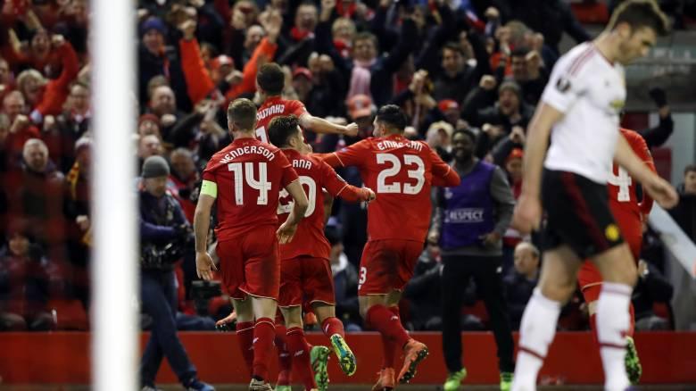 Νίκη 2-0 της Λίβερπουλ επί της Γιουνάιτεντ στο πρώτο ματς για τους 16 του Europa League