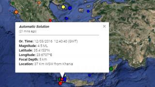 Σεισμός 4,5 Ρίχτερ ταρακούνησε την Κρήτη