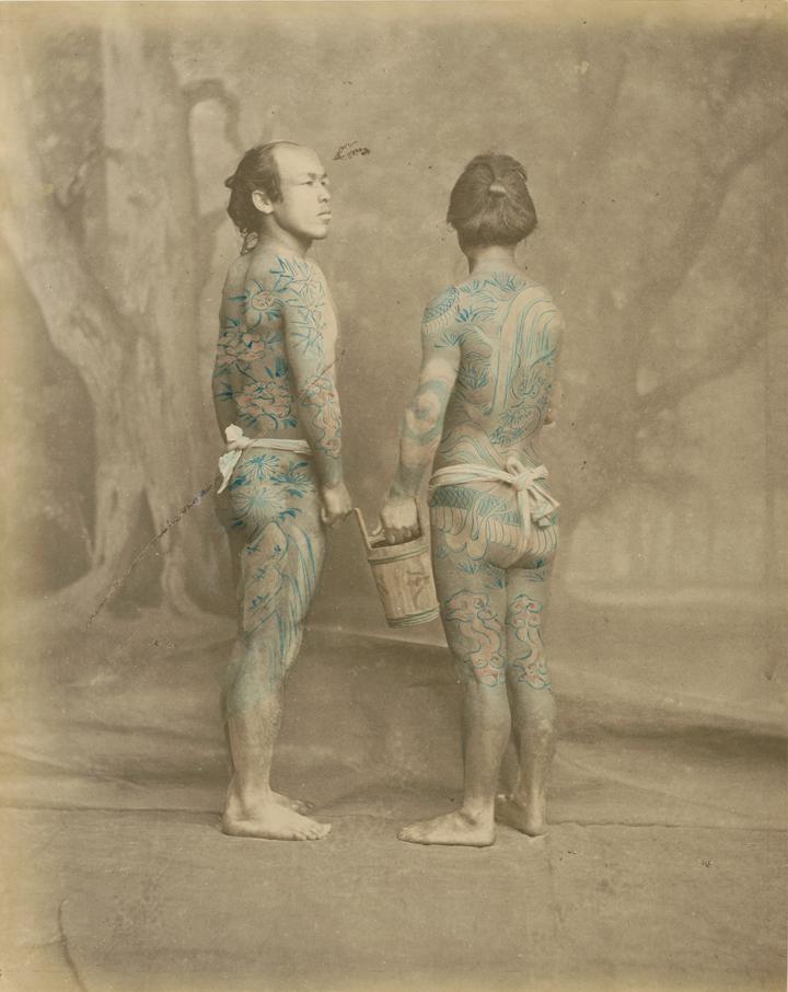 Beato Felice 1834 1907 Tattooed japanese men ca. 1870
