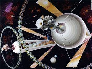 Η κυλινδρική αποικία στηρίζεται πάνω σε ένα τεχνητό μηχανισμό που σταθεροποιεί τη βαρύτητα.