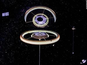 Ένας τεράστιος καθρέφτης παρέχει τεχνητό φως στο εσωτερικό του δαχτυλιδιού, όπου φιλοξενείται η αποικία.