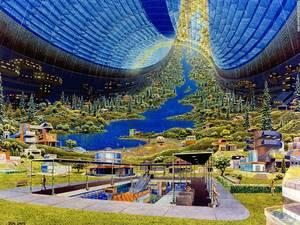 Ο καθηγητή Τζέραλντ Ο' Νέιλ (Gerald O' Neill) πίστευε ότι οι διαστημικές πόλεις θα μπορούν να φιλοξενούν από 10.000 μέχρι ένα εκατομμύριο ανθρώπους. Το σχέδιο από το μέλλον δείχνει την καθημερινότητα ανθρώπων σε τεχνητή βαρύτητα.
