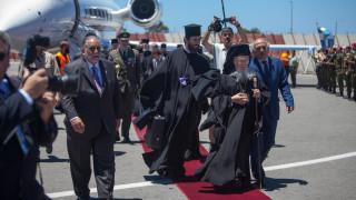 Φωτογραφίες από την άφιξη του Οικουμενικού Πατριάρχη στην Κρήτη