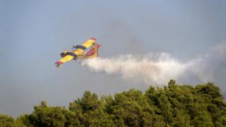 Αναγκαστική προσγείωση πυροσβεστικού αεροσκάφους στα Δερβενοχώρια
