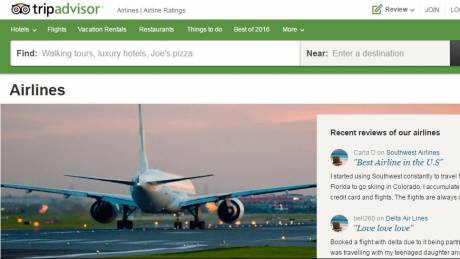 Το TripAdvisor φιλοξενεί κριτικές και για αεροπορικές εταιρείες