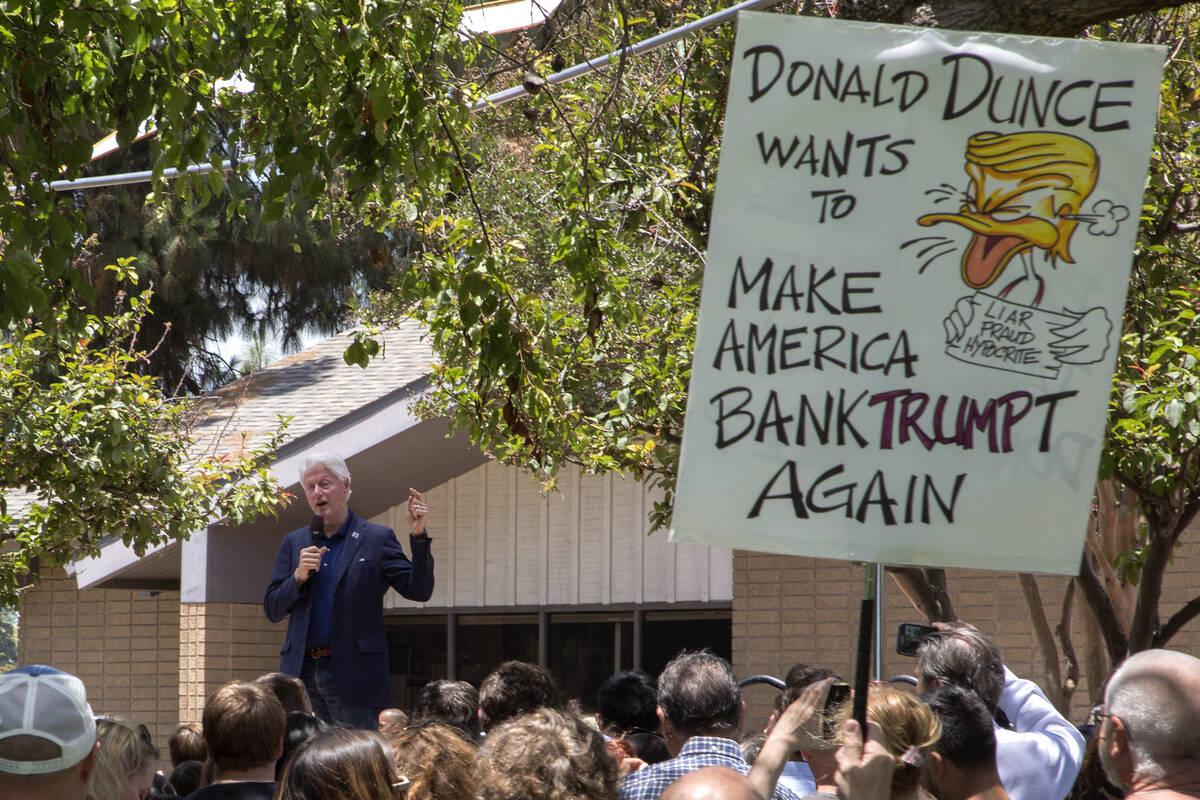 Clinton Trump duck 2016 06 03 David McNew GettyImages 537939346