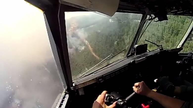 Με τα μάτια του πιλότου: Συγκλονιστικές σκηνές κατάσβεσης στην Εύβοια μέσα από το Canadair (vid)