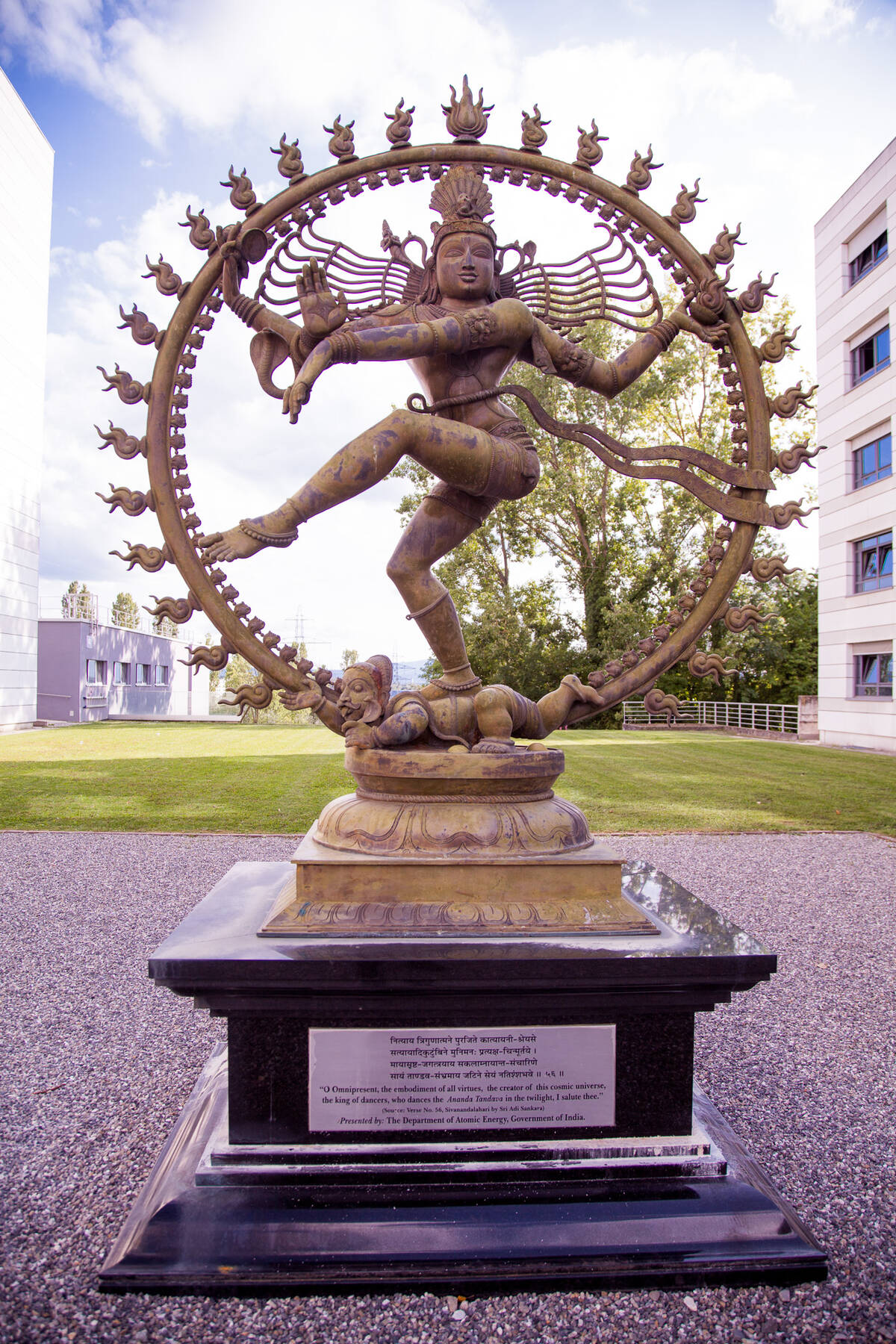 Shivas statue at CERN engaging in the Nataraja dance