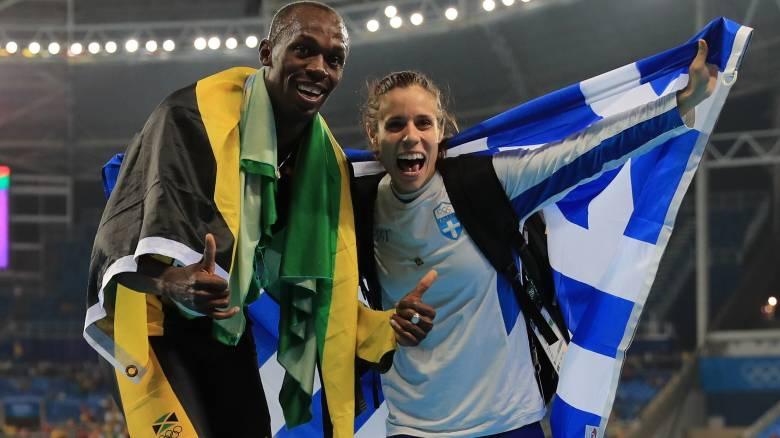 Ρίο 2016: Όταν η Στεφανίδη πανηγύριζε με τον Μπολτ (pics)