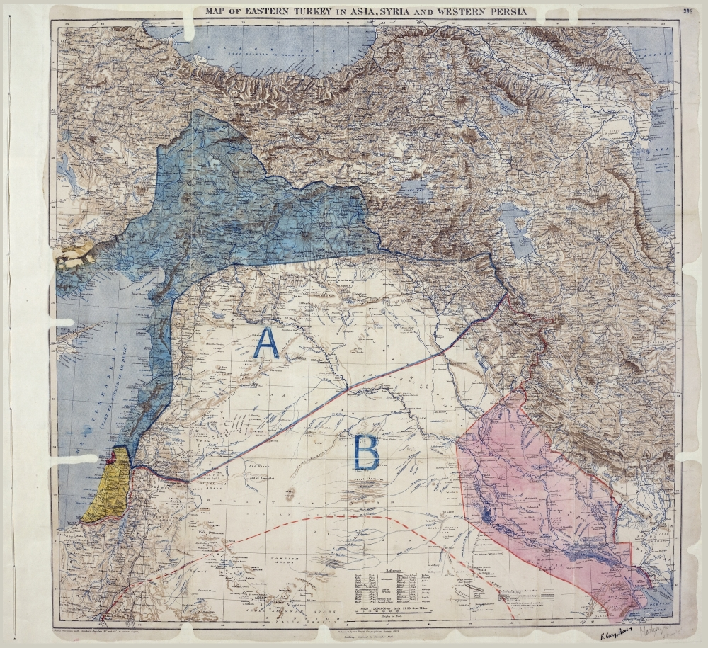 Sykes Picot MPK1 426 Sykes Picot Agreement Map signed 8 May 1916 1000