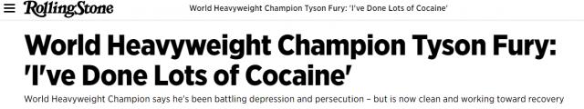 tyson fury cocaine rolling stone