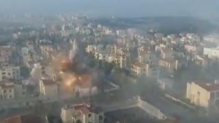 Συρία: Drone καταγράφει τη στιγμή που βλήμα ισοπεδώνει κτίρια στο Χαλέπι (vid)