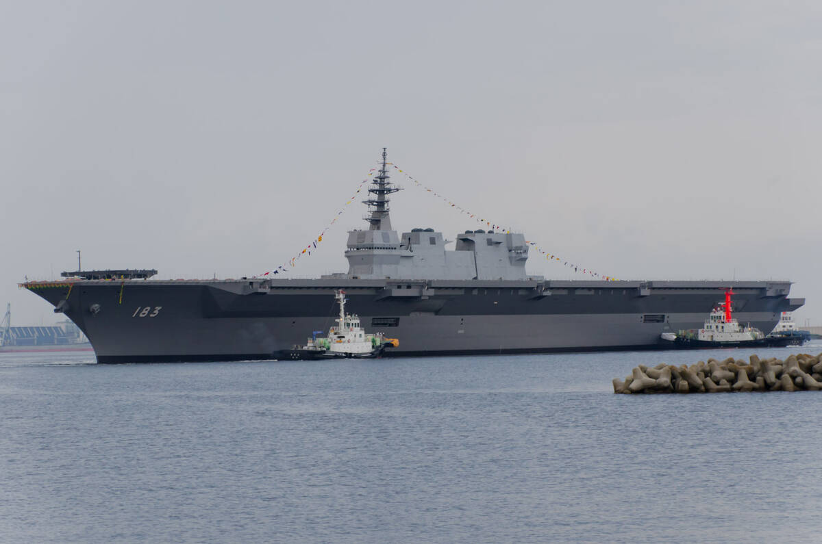 JS Izumo DDH 183 just after her launch