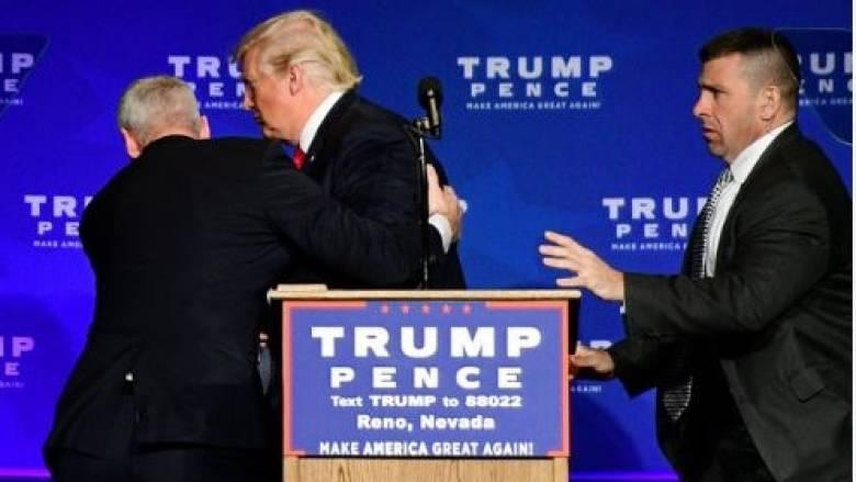 Εκλογές ΗΠΑ 2016: Ο Τραμπ απομακρύνθηκε από προεκλογική εκδήλωση για λόγους ασφαλείας (vid)