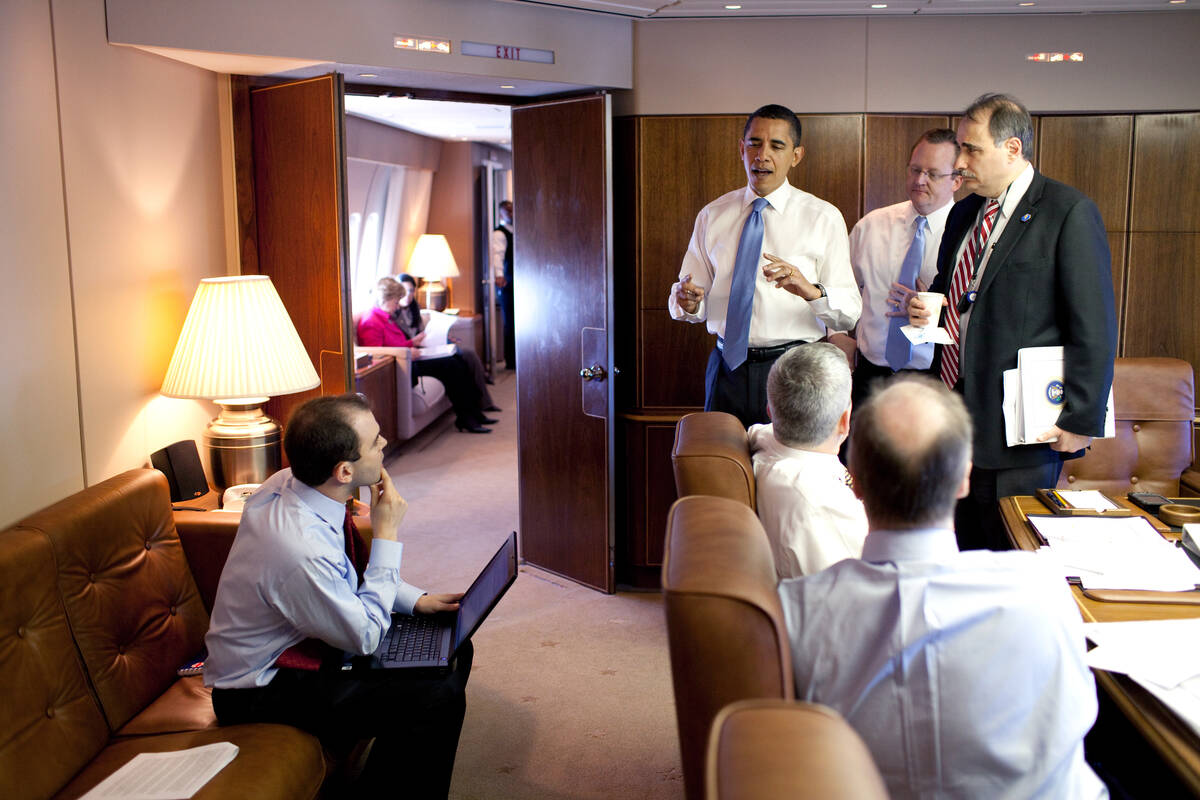 Barack Obama meets his staff in Air Force One Conference Room copy