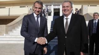 Επίσκεψη του Κυρ. Μητσοτάκη στο υπ. Εθνικής Άμυνας και η υποδοχή από τον Π. Καμμένο (pics)