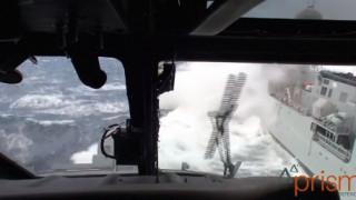 Προσγείωση ελικοπτέρου εν μέσω κακοκαιρίας στα ταραγμένα νερά του βορείου Ατλαντικού (vid)