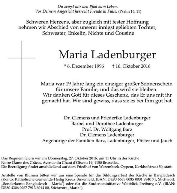 Maria Ladenburger obituary 746659