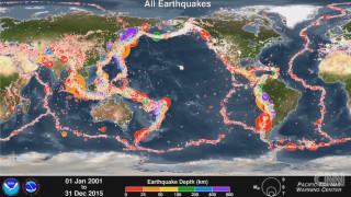 15 χρόνια παγκόσμιας σεισμικής δραστηριότητας σε ένα χάρτη