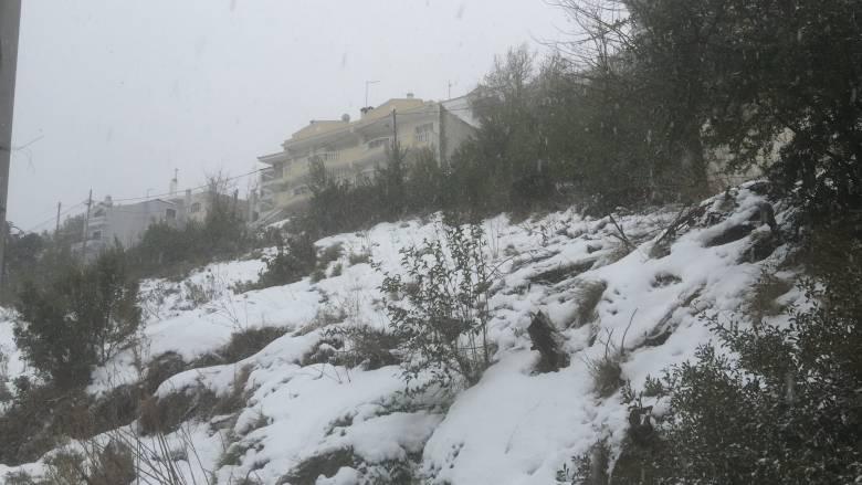 Σφοδρή χιονόπτωση στα βόρεια προάστια της Αττικής (pics&vid)