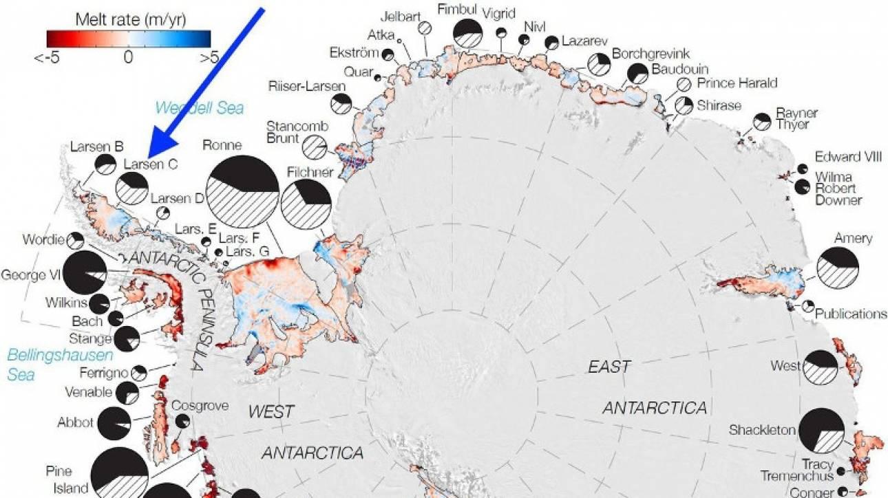 Ένα από τα δέκα μεγαλύτερα παγόβουνα είναι έτοιμο να αποκολληθεί από την Ανταρκτική