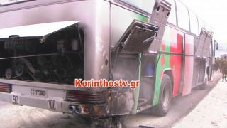 Φωτιά σε λεωφορείο της Σχολής Ευελπίδων που μετέφερε στρατιωτικούς (pics)