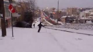 Έκαναν σκι στο κέντρο της Θεσσαλονίκης (vid)