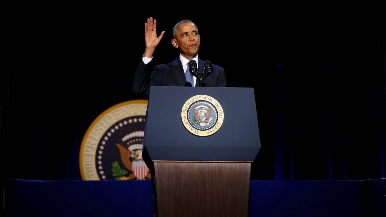 Ο Ομπάμα αποχαιρέτησε τον αμερικανικό λαό-Η συγκίνηση και η αγκαλιά στην Μισέλ (vis&pics)