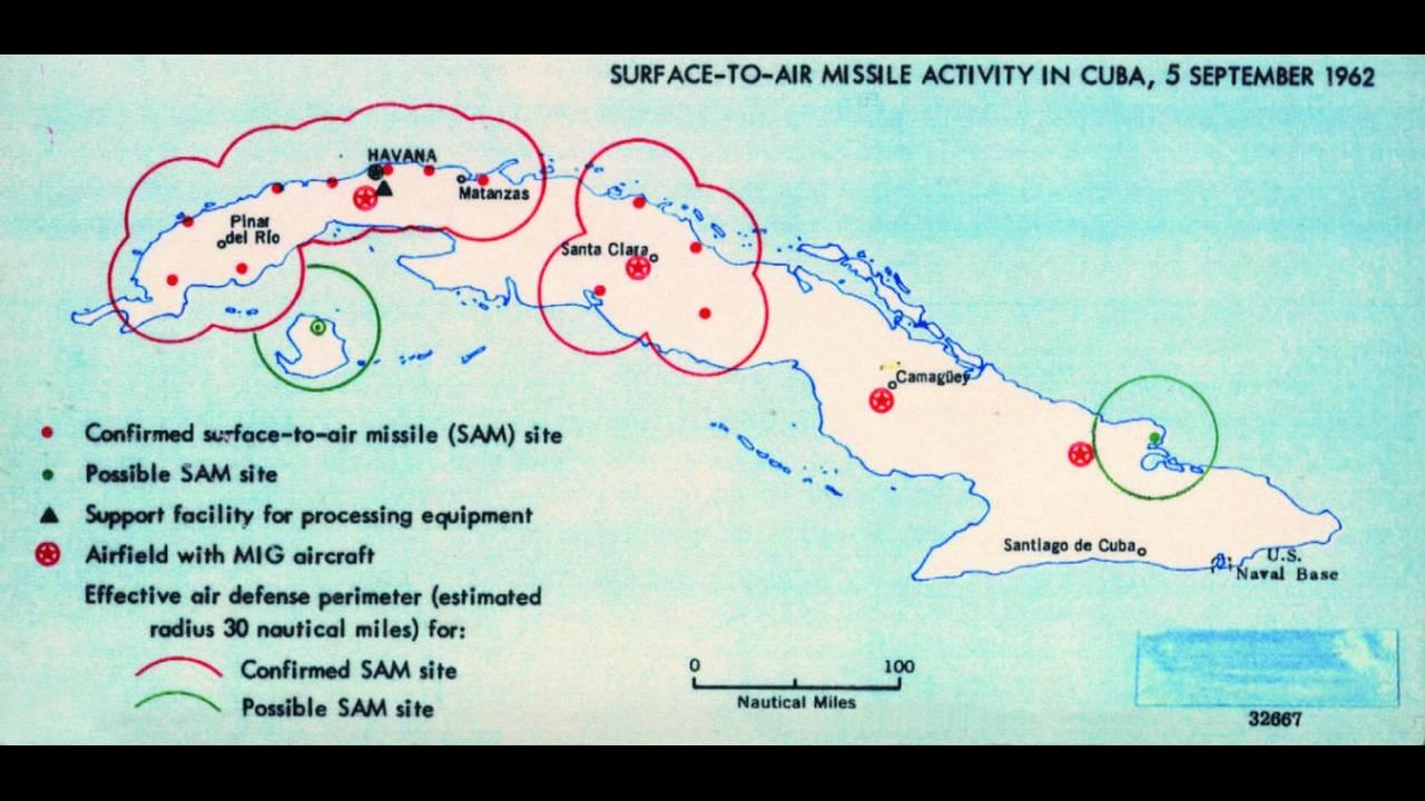 Ύποπτες περιοχές με πυραύλους στην Κούβα. 1962