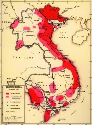 Χάρτης Γααλικών και Βιετναμέζικων επιχειρήσεων κατά τη διάρκεια της δεκαετίας του 1950