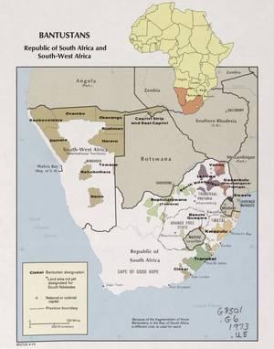 Αυτόνομες περιοχές των Μπαντουστάν στη Νότια Αφρική το 1973.
