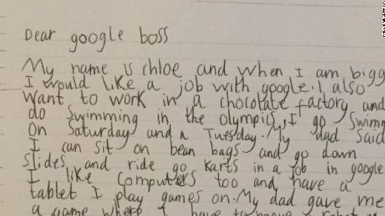 Επτάχρονη στέλνει γράμμα στην Google και παίρνει απάντηση από τον CEO
