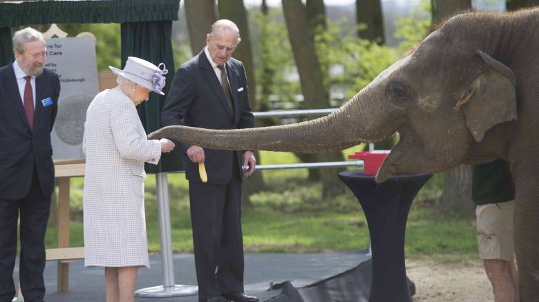 Η Βασίλισσα Ελισάβετ ταΐζει μπανάνες τους ελέφαντες (pics)