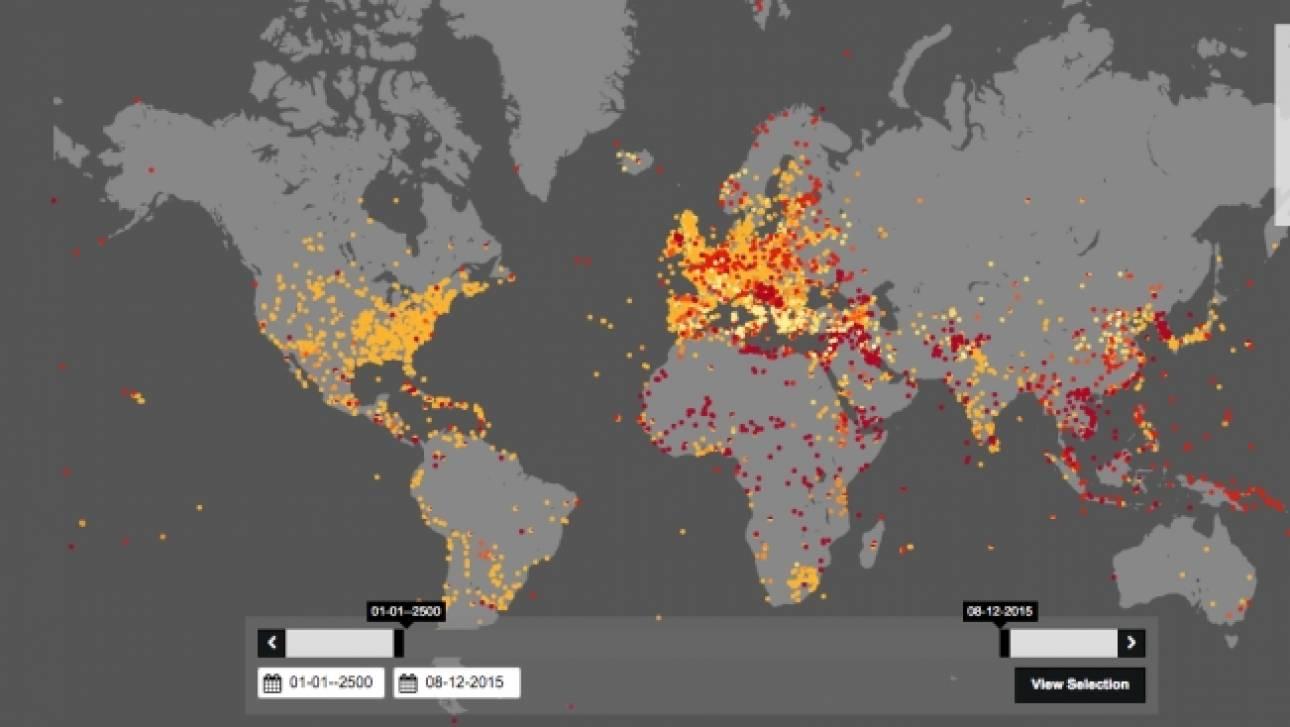 Χάρτης: Οι πόλεμοι στην ιστορία της ανθρωπότητας - Οι μάχες σε ελληνικό έδαφος (Pic)