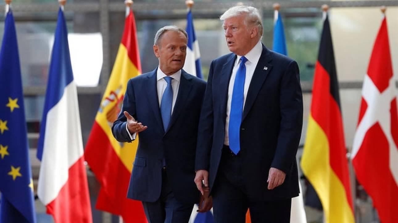 Τουσκ και Γιούνκερ υποδέχθηκαν τον Τραμπ στις Βρυξέλλες (pics)