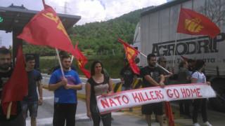 Κοζάνη: «Μπλόκο» στη ΝΑΤΟική δύναμη από μέλη του ΚΚΕ (pics)