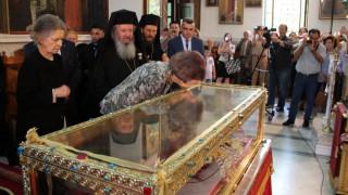 Η βασίλισσα Σοφία της Ισπανίας προσκύνησε το ιερό λείψανο της Αγίας Ελένης στην Αγία Βαρβάρα