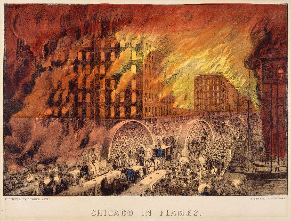 Chicago in Flames by Currier Ives 1871